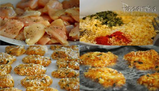 Nuggets panados com Batatas Chips